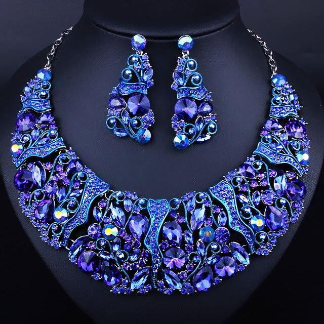 Роскошные Высокое качество полный стразы ожерелье и серьги имитация сапфир свадебные свадебное ювелирные наборы