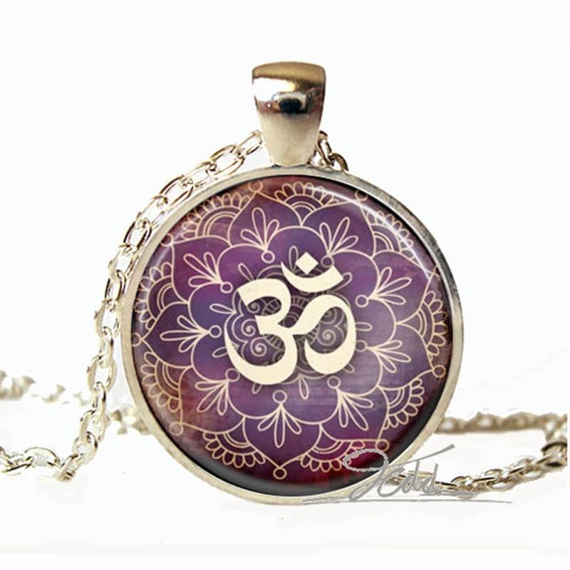 1pcs New Lotus Om Yoga Jewelry India Necklace Om Symbol