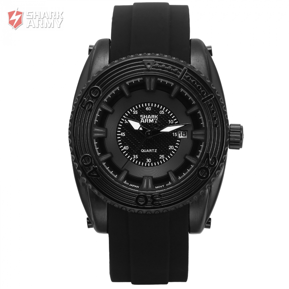 SHARK ARMY Water Resistant  Date Display Black  Quartz Movement For  Man Inside  Military Design  High Quality    Watch /SAW205 military glow in the dark water resistant quartz wrist watch army green 1 x sr626sw