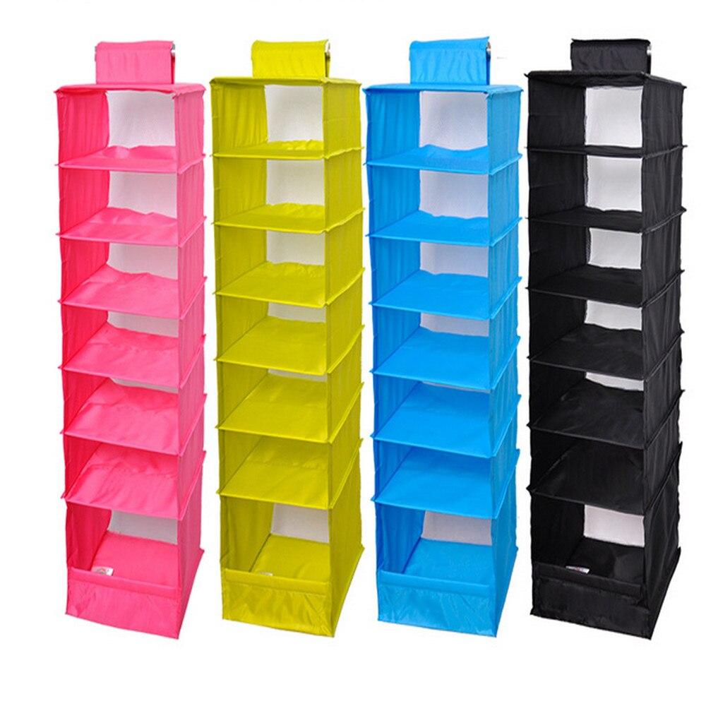 Home Storage Organization Multi layer 7 shelf Polyester Fabric Wardrobe Storage Clothing Closet Hanging Mesh Sorting