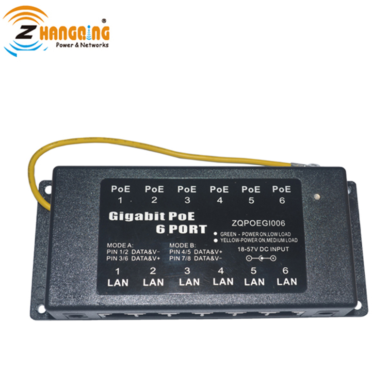 Gigabit Passive PoE Injector wall mount 10/100/1000 Mbps PoE patch Panel 6 Port Multi port for IP camera, IP phone, WiFi AP
