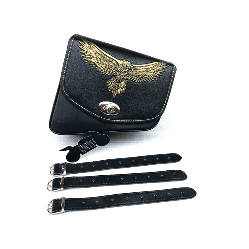 1PCS Black With Eagle Logo Motorcycle PU Lether Saddle Bags Throw Under Seat Side Tools Bag Pouch Universal For Cruisers Chopper