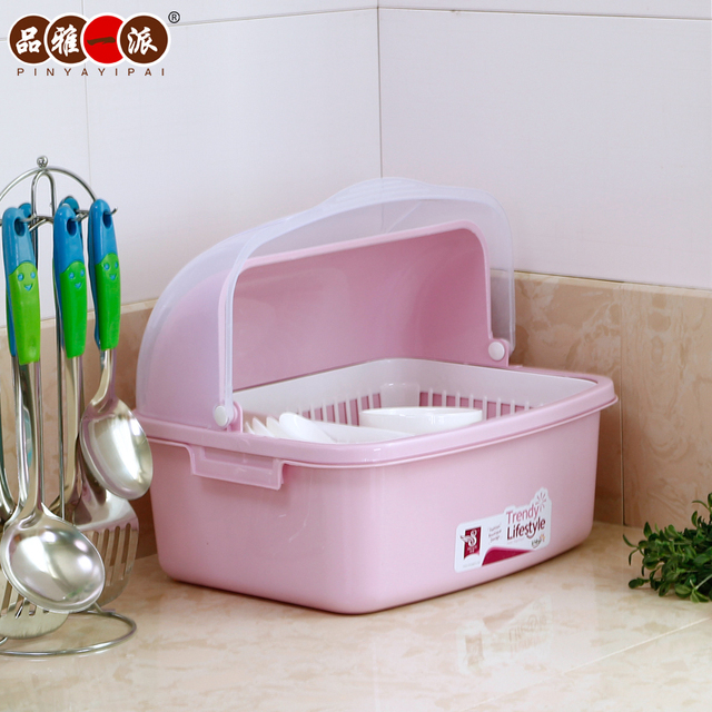 Drain Elegant Kitchen Cupboards Product Dish Rack Lid Plastic Storage Box To Put The Drip