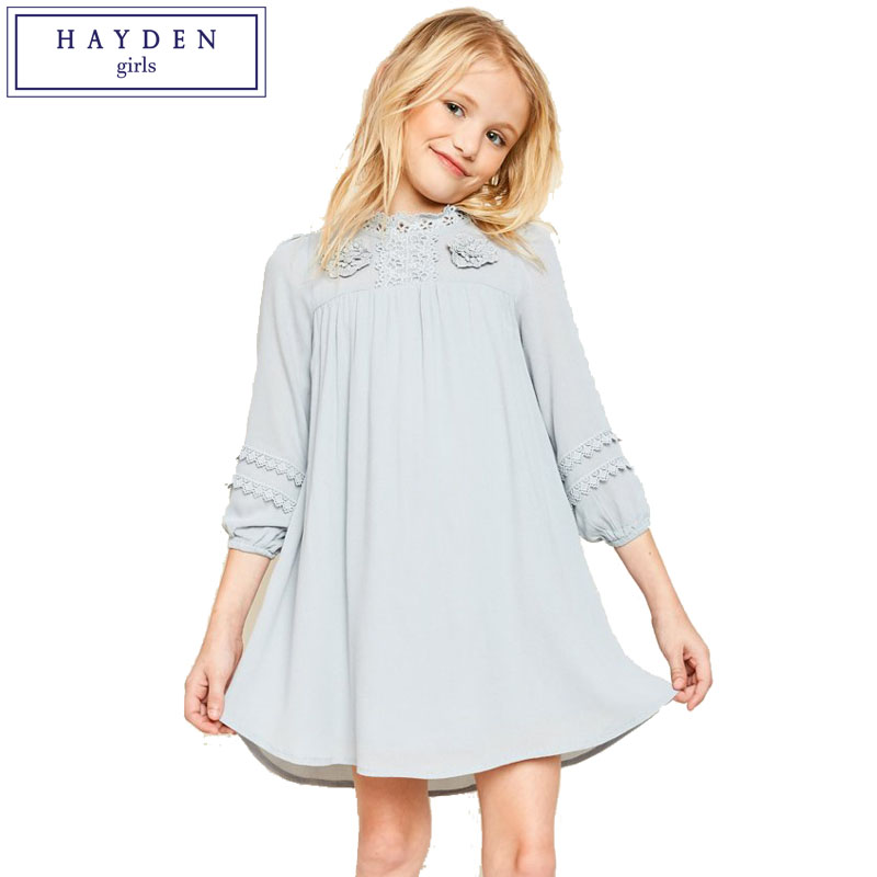 HAYDEN Girls Tunic Dress 2018 Spring Summer Brand Dresses for Teenage Girls Floral Lace Trim Dress for Children Age 7 to 14 Year girls dress lace to chiffon blooming flower tied waist 7 14