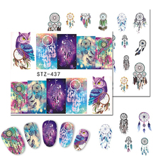 1Sheet Cartoon Owl Nail Art Stickers Beauty Full Wraps Water Transfer Designs Cute Nail Tips Decals DIY Accessories LASTZ437-438