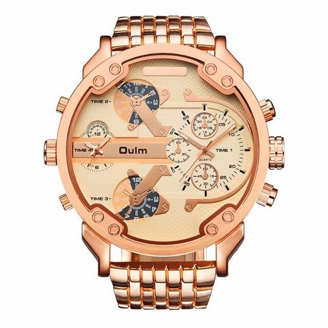 2dff3bfe321 2018 Mens Relógios Marca Top OULM 3548 Aço Inoxidável Luxo Duplo Fuso  Horário Relógio de Quartzo