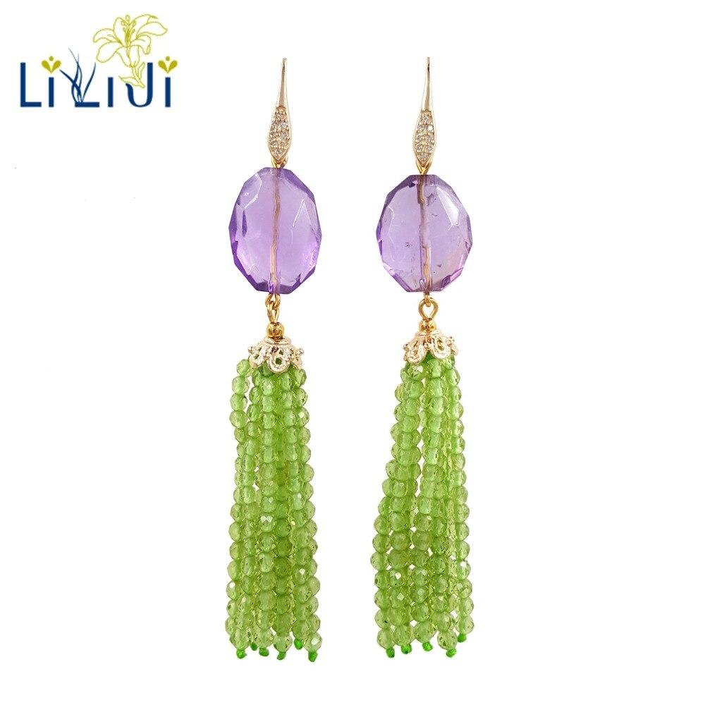 LiiJi Unique naturel réel minuscule péridots améthystes perles 925 en argent Sterling couleur or brillant boucle d'oreille pour les femmes bijoux