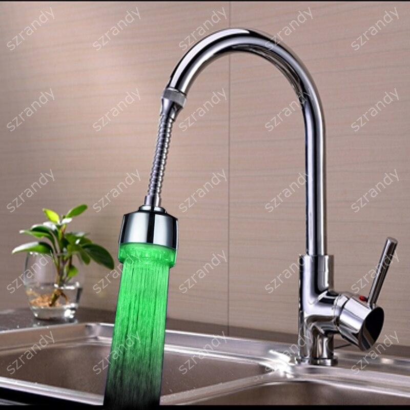 360 Water Tap Led Glow Shower Faucet Temperature Sensor Rgb 3 Color Change Light Basin Faucets