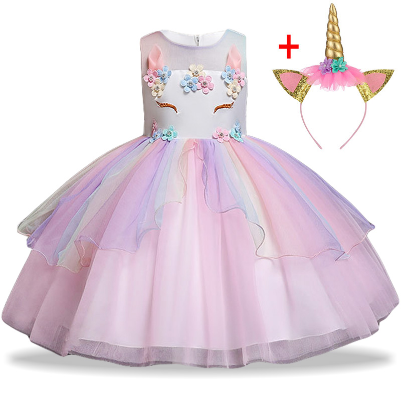 HTB1 RPMbdfvK1RjSspoq6zfNpXam Unicorn Dress Birthday Kids Dresses For Girls Costume Halloween Christmas Dress Children Party Princess Dresses Elsa Cinderella