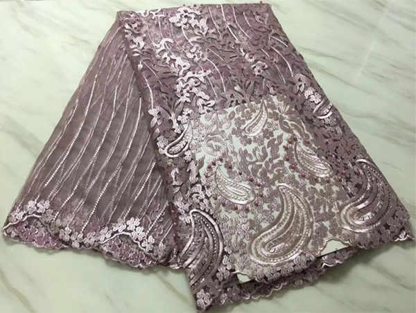 Popolare 5 yards africano francese tessuto del merletto di alta qualità ultime africano lacci 2018 nigeriano tessuti di pizzo per il vestito da sposa PL-E29
