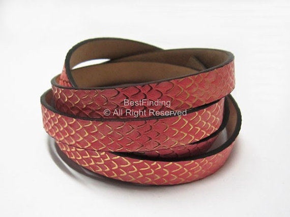 10mm Flat leather cord 10x2mm Snake skin leather strips in Jewelry Findings Components from Jewelry Accessories