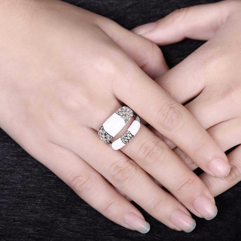 Luxurious Double Loop Ring Fashion Wide Band Double Rows Ring White ...