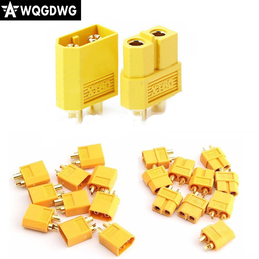 100 pcs  XT60 bullet Connectors plugs Male Female for RC Lipo Battery hot sale 75ohm coaxial female connectors plugs 5 pcs