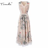 Truevoker Designer Dress Women S High Quality Sleeveless V Neck Vintage Embroidery Khaki Lace Midi Calf