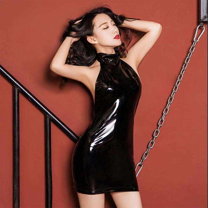 0c04bc00b4e High Cut High Neck Halter Erotic Dress PVC Shiny One Piece Body Suit Latex  Matt Catsuit