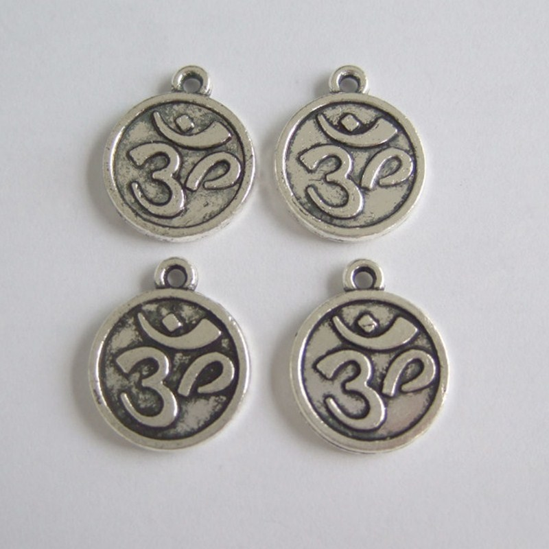 Wholesale Lot 30pcs Antique Silver OM / OHM / AUM Symbol Yoga Charms Pendants Beads For Jewelry Making Findings 18x15mm