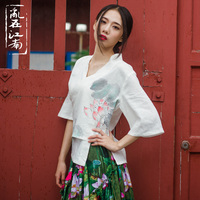 Folk Style Improved Han Chinese Clothing Retro Cotton Linen Lace Han Costume Freehand Lotus Summer Short