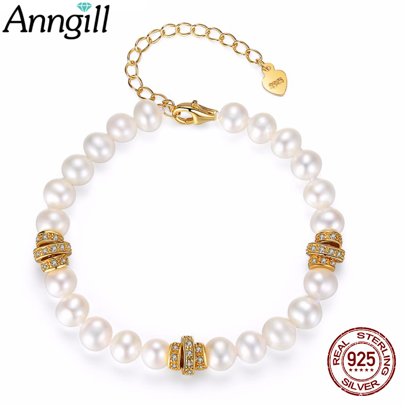 ANNGILL D'eau Douce Naturelle Perle Or Couleur Bracelets Pour Les Femmes Pulseira Feminina Amitié Couple Bracelet Argent 925 Bijoux