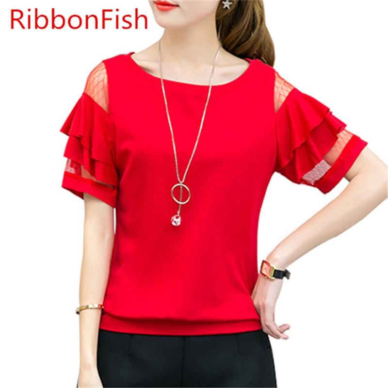 RibbonFish Women Summer Style Chiffon Blouses Shirts Casual Short Ruffles Sleeve Lace Off Shoulder Blusas DD1324