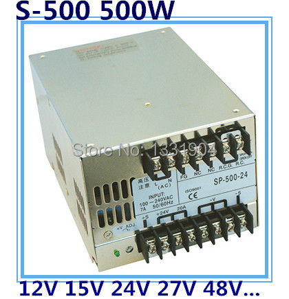 LED single phase output switching power supply S-500,500W AC input, output voltage 12V, 15V, 24V, 27V, 48V.. transformer 1200w 48v adjustable 220v input single output switching power supply for led strip light ac to dc