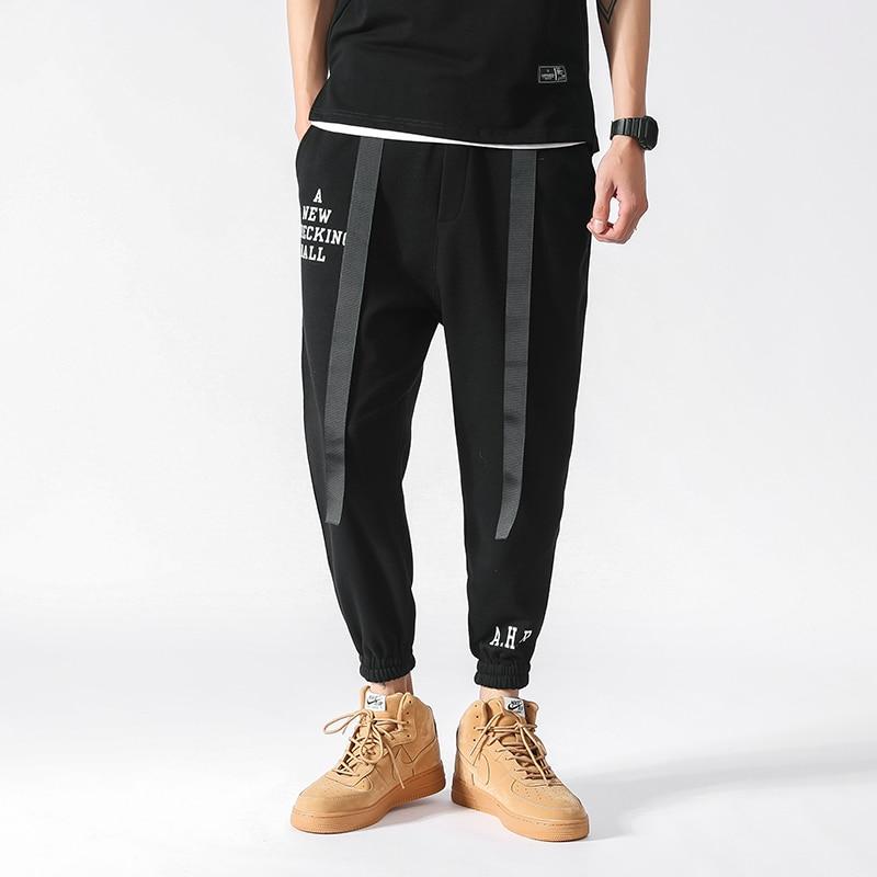 2018 Spring Casual Pants Mens Loose Hip Hop Jogger Pants Ribbon Design Elastic Waist Ankle Length Sweatpants Men Trousers 5XL-M