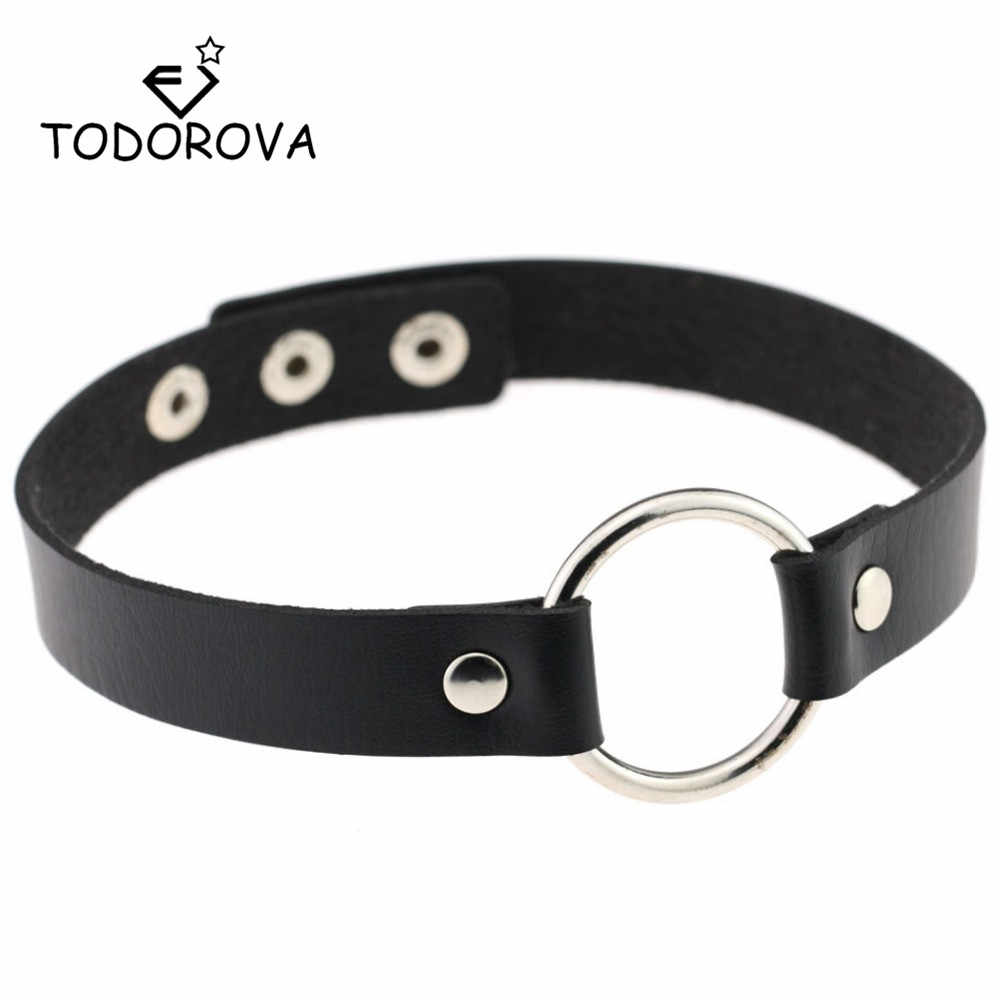 Todorova Punk Black Leather Choker Necklace Women Circle Chokers Necklaces Funky Pink Chocker collares collier ras du cou