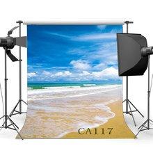 5x7ft Cenários de Fotografia Seaside & Oceano Praia de Areia Bebê Recém nascido Crianças Retratos Fundo do Céu Azul Nuvens Brancas