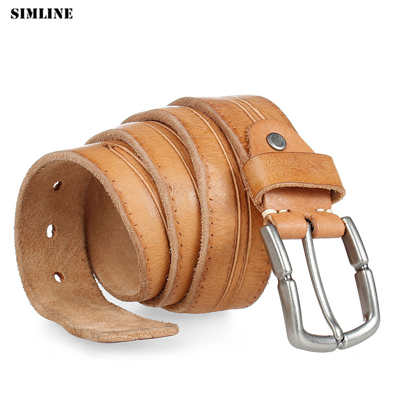 Belts Men Cowhide Genuine Leather male pin buckle jeans Luxury High Quality
