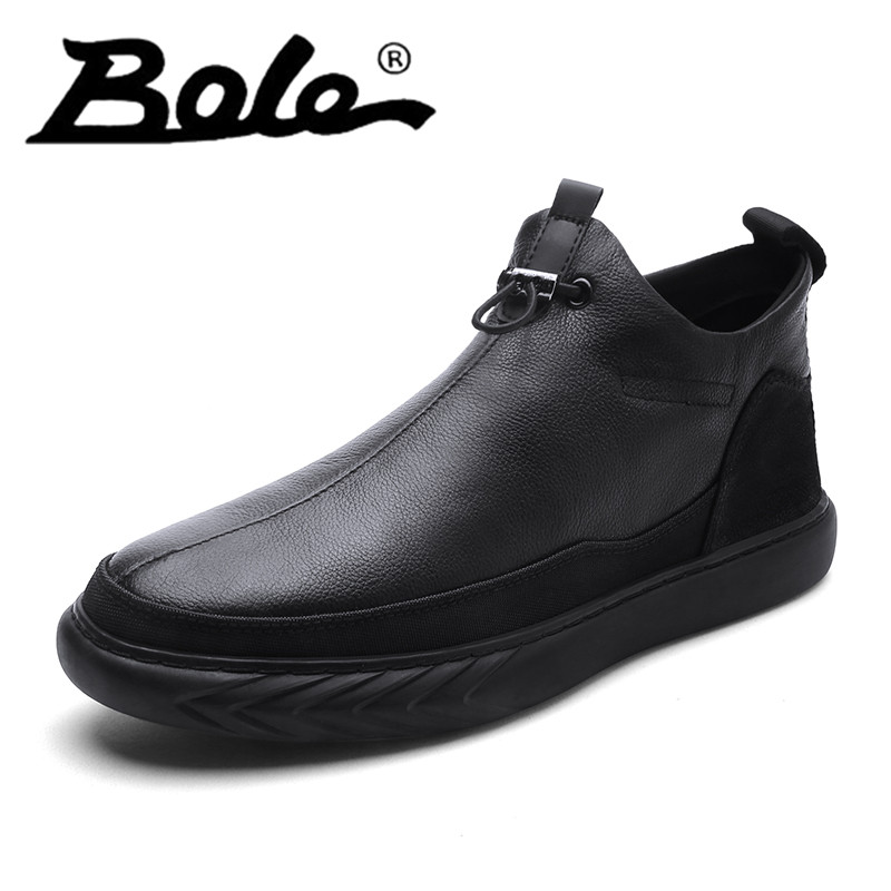 High Quality Men Genuine Leather Shoes with Fur Round Toe Lace Up Non Slip Hard Wearing Sole Casual Leather Shoes Medium Top business men tie shallow mouth brown leather casual rivet shoes men s shoes round youth non slip rubber sole