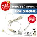 10 шт. конденсатор головной микрофон-гарнитура с Mini 3 булавка розетки и вилки XLR TA3F вилка для Shure беспроводная BodyPack передатчик