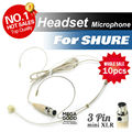 Free Shipping! 10pcs Condenser Headworn Headset Microphone with Mini 3 Pin XLR TA3F plug for Shure Wireless BodyPack Transmitter
