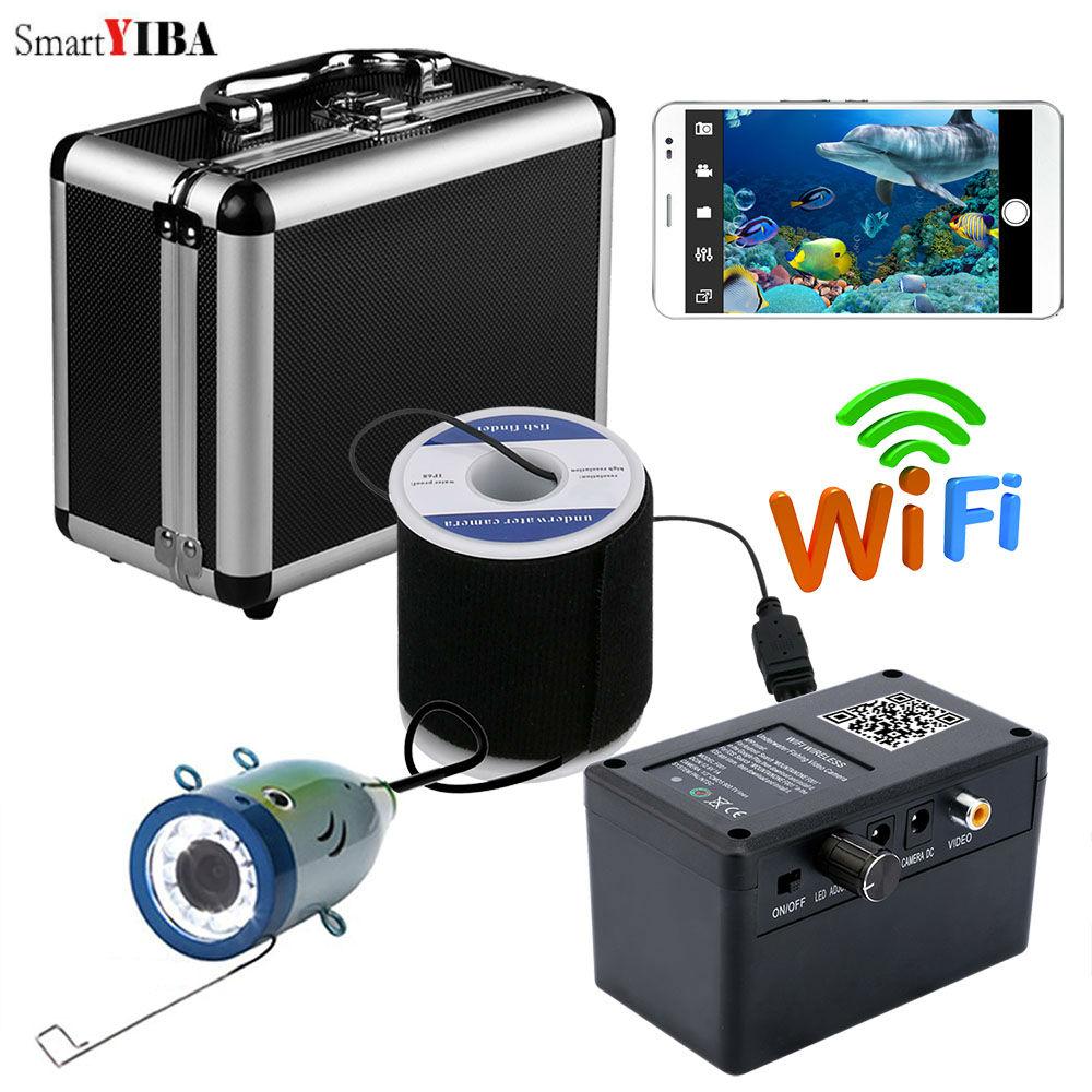 SmartYIBA APP Control 30M 1000TVL Fish Finder Underwater Camera 12pcs White LED Ice/Sea/River Fishing Underwater Fishing Camera цена 2017