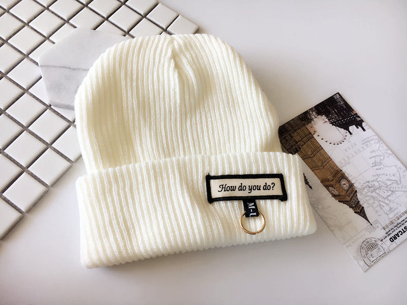 2019 cotton letter Thicken knitted hat winter warm hat   Skullies   cap   beanie   hat for men and women 48