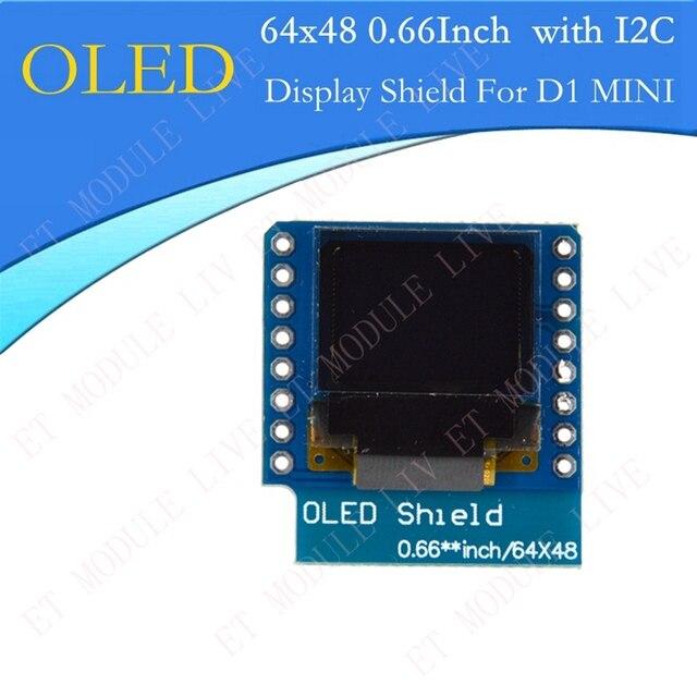 """MH-ET LIVE 0.66 inch OLED Display Module for WEMOS D1 MINI ESP32 Module Arduino AVR STM32 64x48 0.66"""" LCD Screen IIC I2C OLED"""