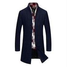 Новинка, модный Тренч, мужское зимнее шерстяное пальто с воротником, длинная верхняя одежда, пальто Manteau Homme