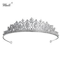Miallo Luxury Full AAA CZ Princess Crown Diadem Bridal Cubic Zircon Flower Women Headpieces Wedding Bride's Tiaras