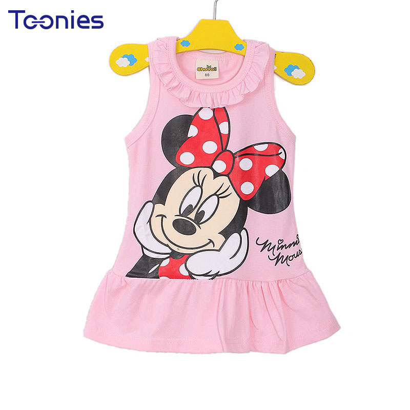 1Pcs Girls Dress Clothes Baby Girl Dresses Children Lovely Cartoon Kids Girl Princess Party Casual Dress Clothing 2 Color YY1571 fashion 2016 new autumn girls dress cartoon kids dresses long sleeve princess girl clothes for 2 7y children party striped dress