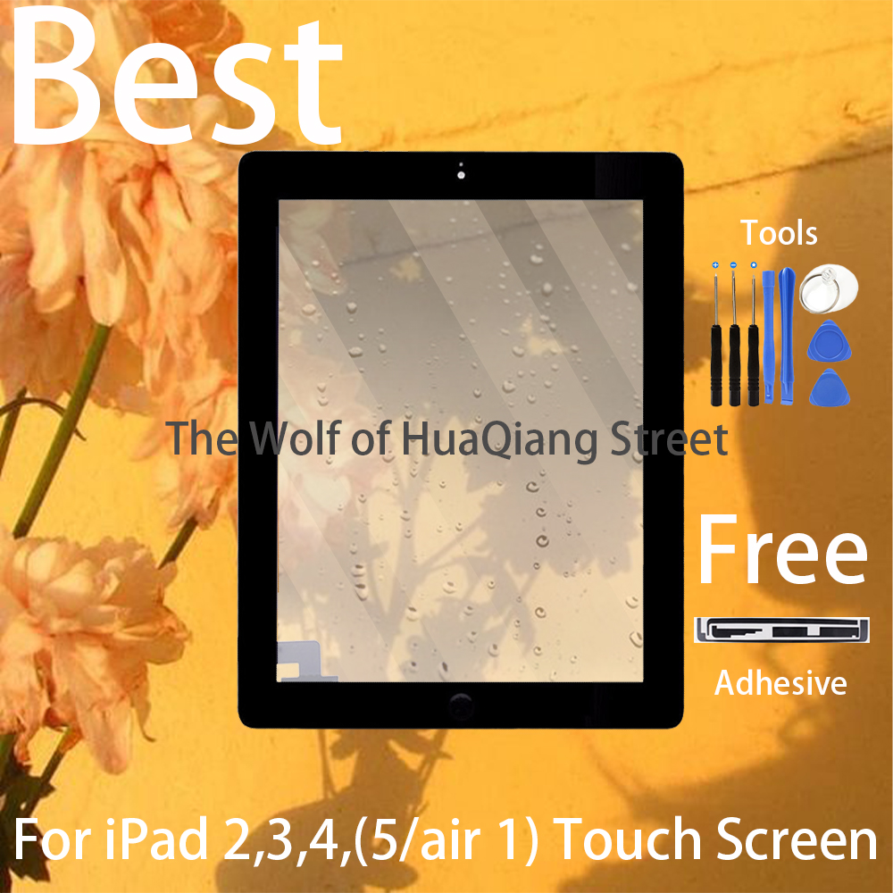 Best A++ Original Digitzer For IPad 2 3 4 5 Air White/black Touch Screen Front Display Glass Assembly With Home Button Flex Free