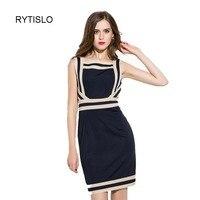 European Summer New Brand Women S Dress 2016 Slash Neck Sleeveless Dress Top Quality Dress Geometric