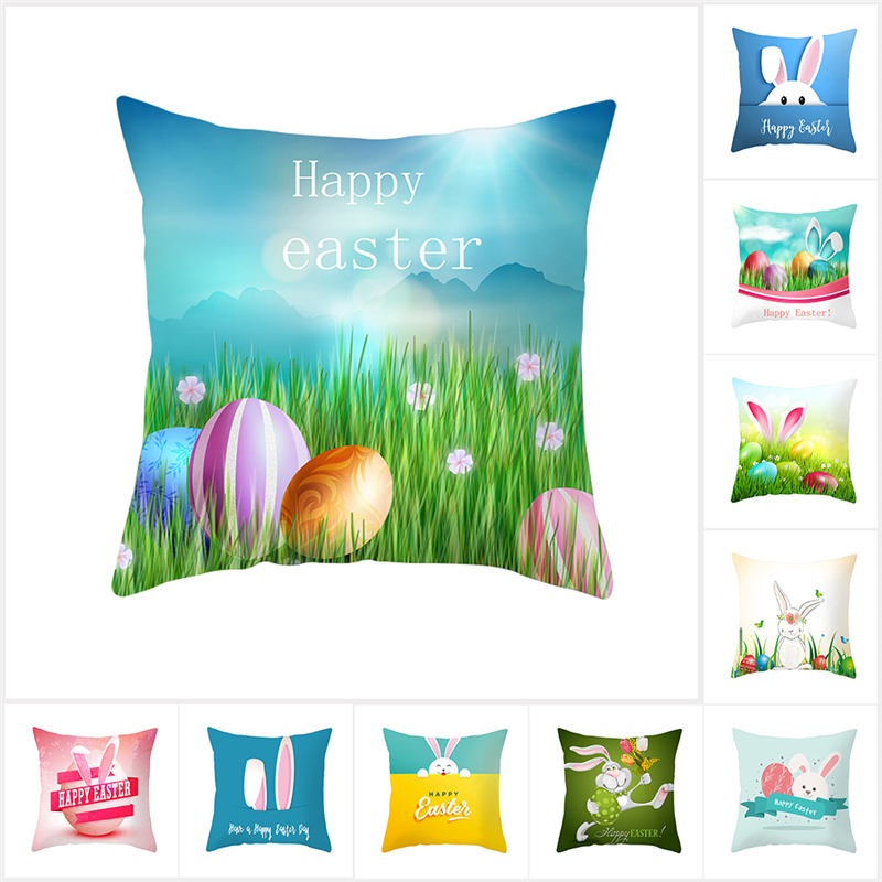 Fuwatacchi Easter Sofa Bed Home Decoration Festival Pillowcase Cushion Cover Bunny Rabbit Egg Printed Pillow