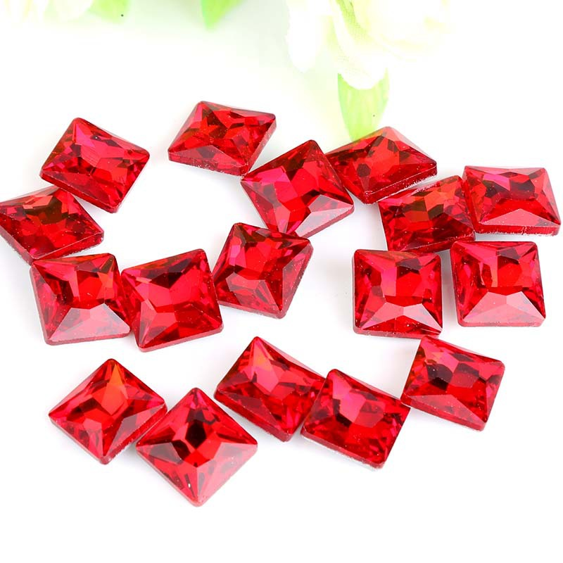 HOT SALE ! Red Square right angle Pointed bottom glass crystal rhinestone apply to Cloth ...