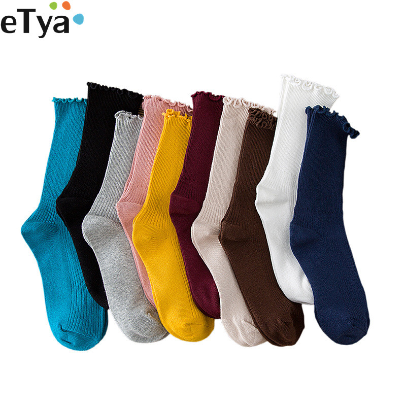 ETya 2019 Fashion Women Warm Wool Socks Breathable Cute Spring Autumn Winter Cotton Short Retro Sox Gifts For Woman Hot Sale
