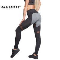CHRLEISURE Heart Mesh Leggings Women Polyester Stitching Trousers Europe And The United States Push Up Fitness