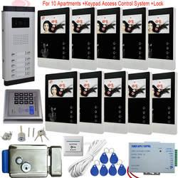 4,3 дюймов домофон камера видео дверной звонок + электронный замок видео телефон двери 10 мониторов система контроля доступа для жилых