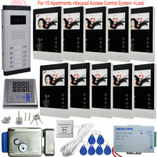 4.3Inch Intercom Camera Video Doorbell + Electronic Lock Video Door Phone 10 Monitors Residential Security Access Control System