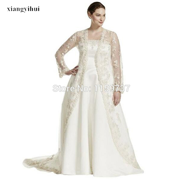 Sweep Train Satin Strapless Plus Size Wedding Dress With Long Sleeve ...