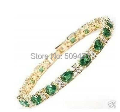 XFS2665>>super beautiful gold filled green stone braclet