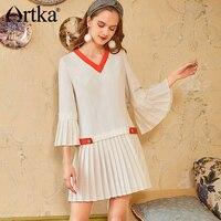 ARTKA 2019 Spring Summer Chiffon Mini Dress For Women V Neck Flare Sleeve Patchwork Fashion Elegant White Dresses LA11284C