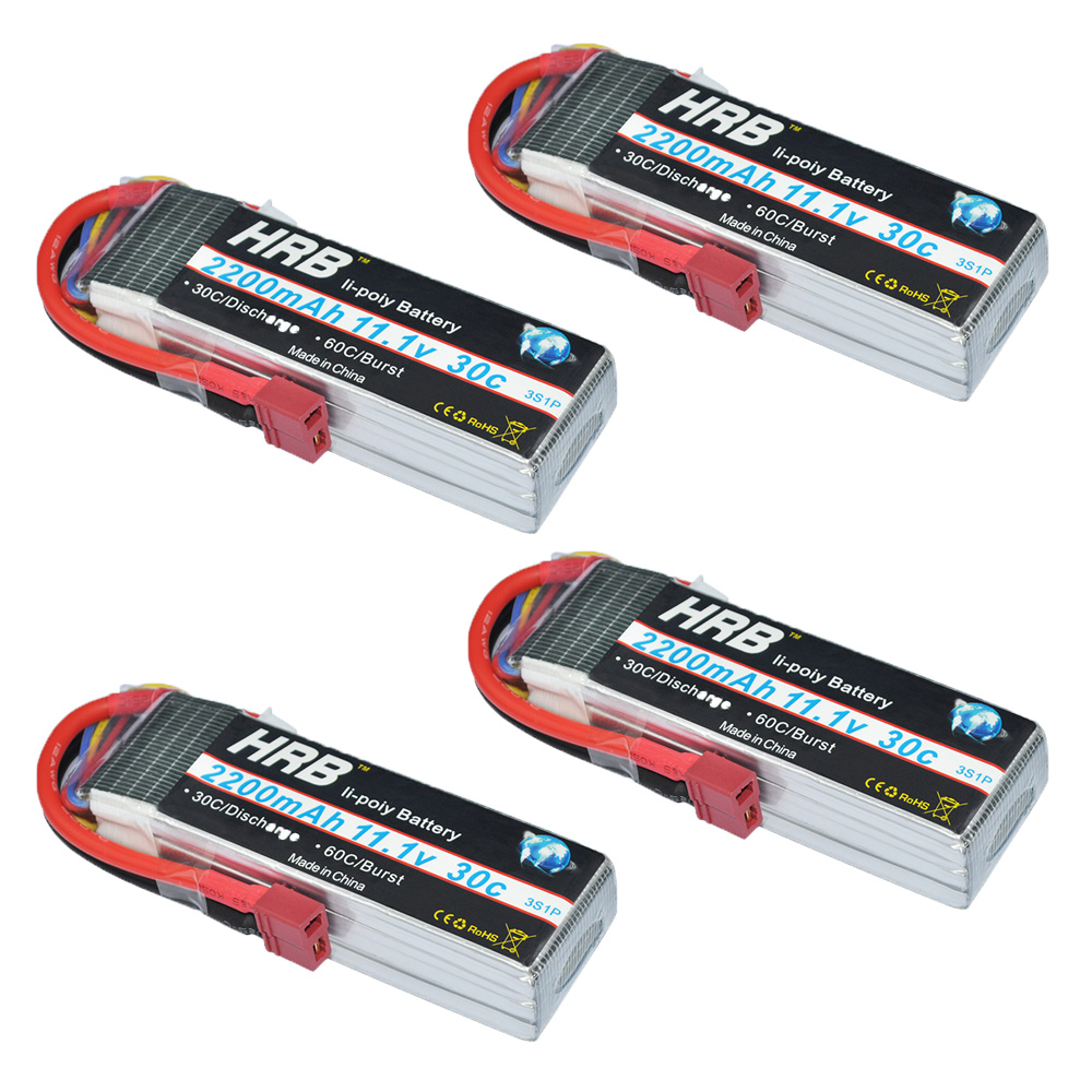 4pcs HRB Trex-450 Lipo 3s Battery 11.1v 2200mAh 30C MAX 60C RC Battery For Fixed-wing RC Helicopter Car Boat Quadcopter FPV xxl rc lipo battery 2200mah 11 1v 3s 30c for trx 450 rc fixed wing helicopters airplanes cars
