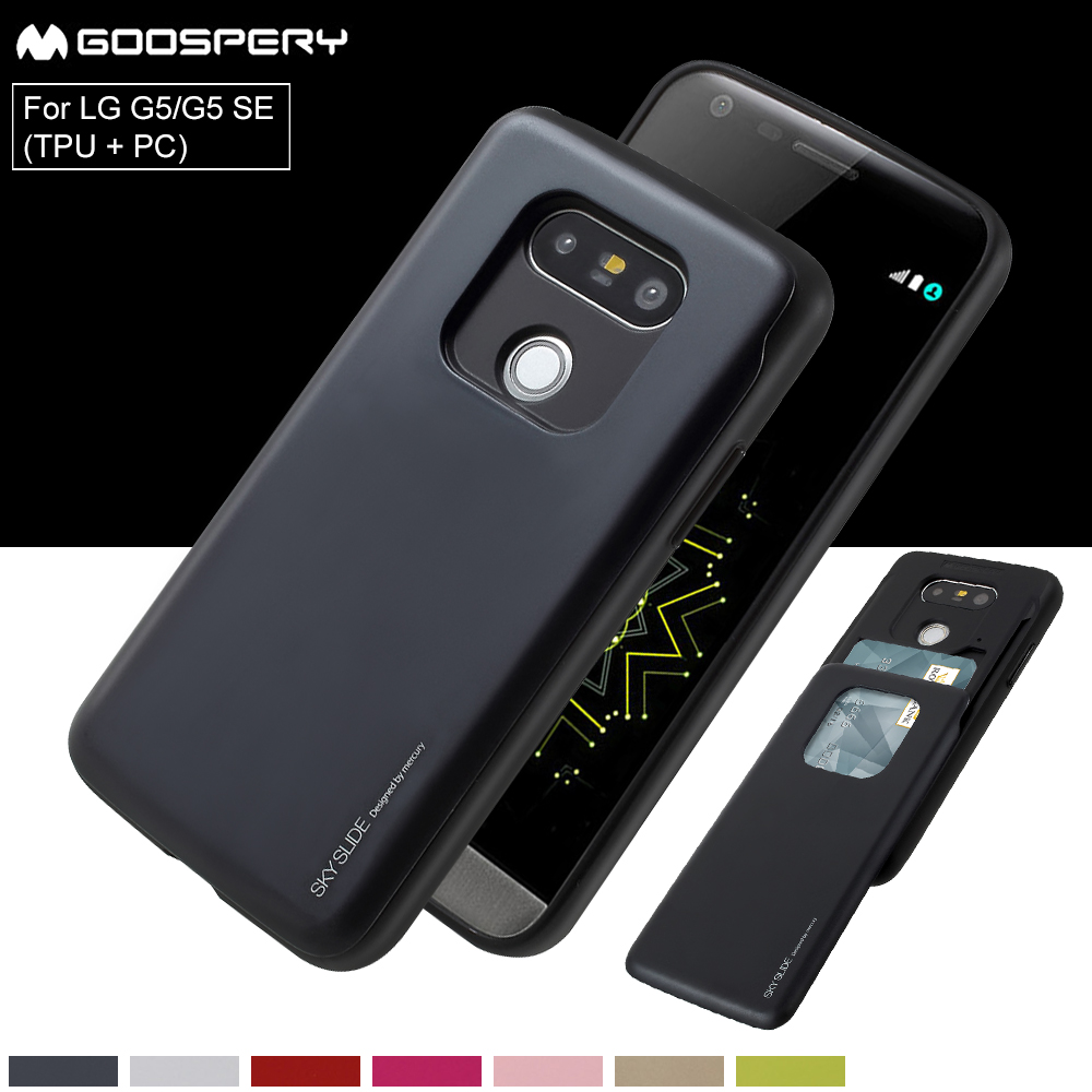 For Lg G6 G5 V20 Case Goospery Sky Slide Card Holder Slot Bumper Iphone 7 Black Fundas Coque Cover Mercury Sliding Hybrid Phone